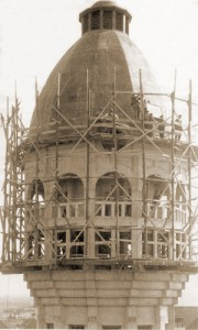 Construction of top of old water tower Zandvoort