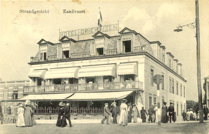 Similar, slightly closer view of Hotel Driehuizen, Zandvoort possibly circa 1905. The Hotel was demolished by the Germans in 1943.