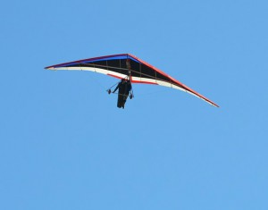 Deltavliegen over het strand