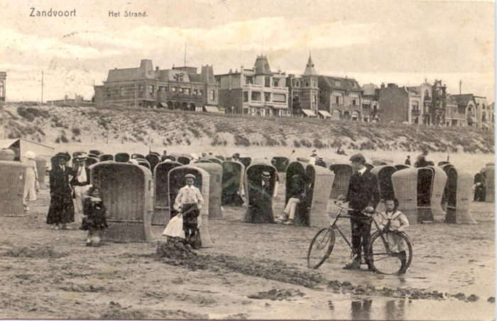 Beach scene probably in front of the Grand Hotel