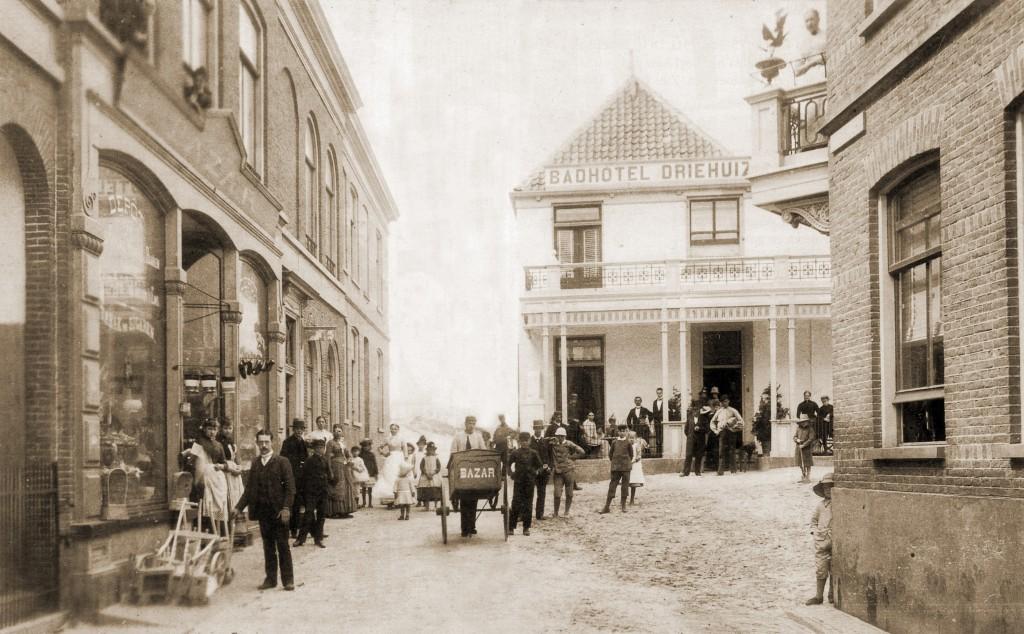 Kerkstraat und Hotel Driehuizen zirka 1888