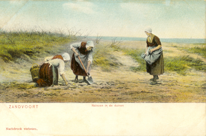Women gathering in the dunes by the sea