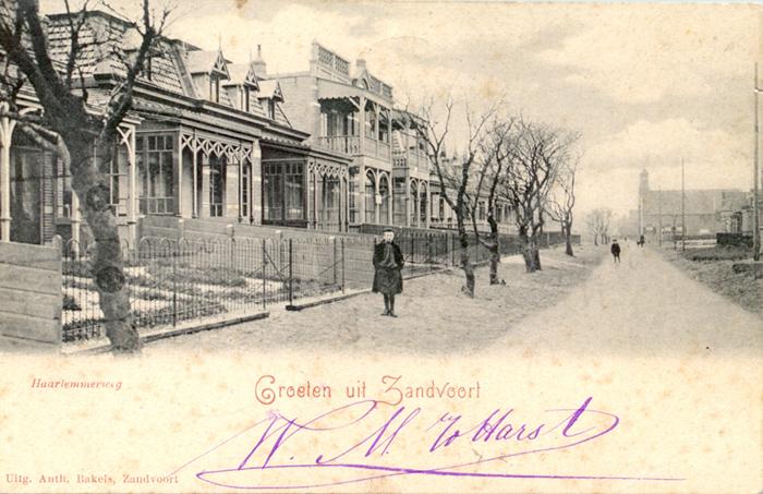 Haarlemmerweg Zandvoort. Diese Karte ist auf der Rückseite auf den 21. Juni 1901 gestempelt.