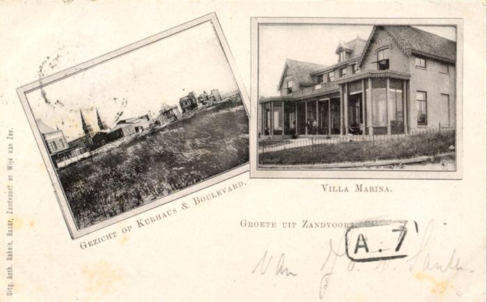 Ansichtkaart van Kurhaus & Boulevard en ook de Villa Marina. Verzonden vanaf Zandvoort op 31 juli 1900