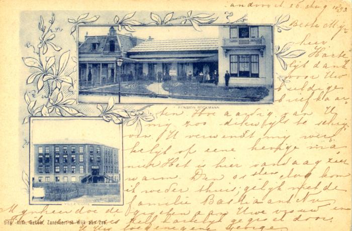 Pension Buckman en Villa Maris op een ansichtkaart van 26 augustus 1899.