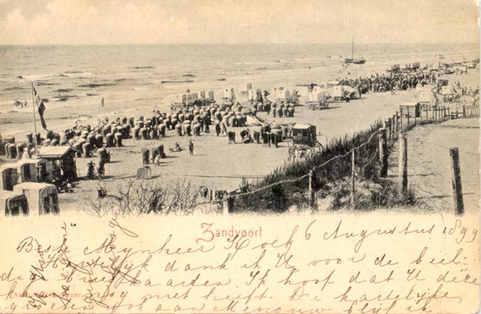 Ansichtkaart van het strand van Zandvoort, in 1899 verstuurd door een Nederlandse bezoeker.